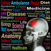 """X-ray skull and """"Stroke"""" and Medical word cloud"""
