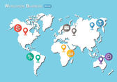 World Map with Pointers and Business icon ( Flat design )