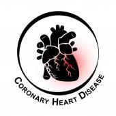 Coronary Heart Disease Symbol ( Ischemic heart disease , Myocardial infraction ) red area at coronary artery ( Thrombus occlude in coronary artery )