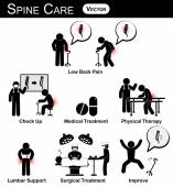Vector stickman diagram , pictogram , infographic of spine care concept ( low back pain , check up , medical treatment , physical therapy , lumbar support , surgical treatment , improve ) flat design