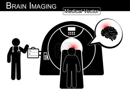 Brain Imaging .  Patient lie on CT scanner for diagnosis of brain disease ( Hemorrhagic or Ischemic stroke , Brain tumor , Brain abscess , etc ) ( Black & white  Flat design )( health care concept )