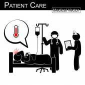 Doctor and nurse care patient in hospital ( Black and White , Flat design ) Vector Medical and Science concept