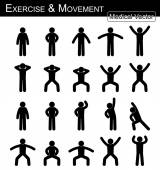 Exercise and Movement ( move step by step )( simple flat stick man vector ) ( Medical , Science and Healthcare concept )