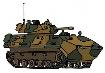 Illustration for Hand drawing of a camouflage track armoured vehicle - not a real model - Royalty Free Image