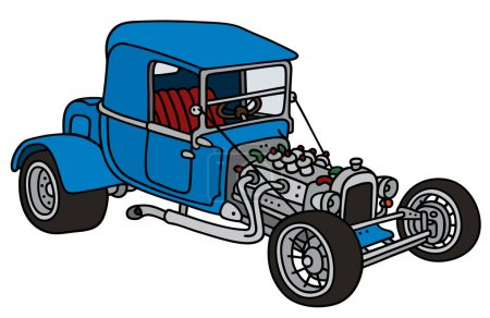 Illustration for Hand drawing of a funny vintage blue car - not a real model - Royalty Free Image