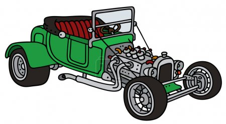Illustration for Hand drawing of a funny vintage green cabriolet - not a real model - Royalty Free Image