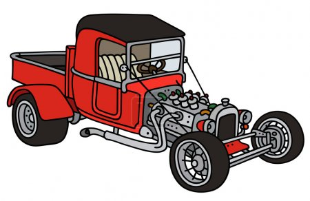 Illustration for Hand drawing of a funny vintage red pick-up - not a real model - Royalty Free Image