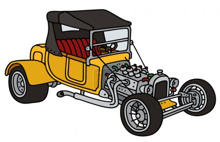 Illustration for Hand drawing of a funny vintage yellow convertible - not a real model - Royalty Free Image