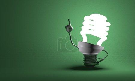 Foto de Personaje brillante bombilla fluorescente con metálicos grandes manos en momento de insight en fondo verde con textura - Imagen libre de derechos
