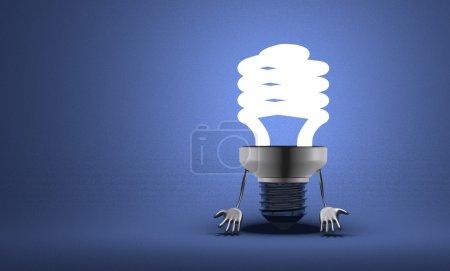 Photo pour Découragée incandescent ampoule fluorescente de caractère avec des mains qui pendent sur fond texturé bleu - image libre de droit