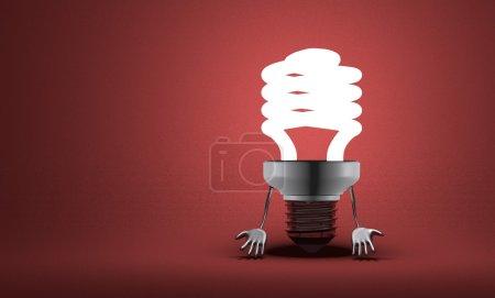Photo pour Découragée incandescent ampoule fluorescente de caractère avec les mains qui se bloque vers le bas sur le rouge texture fond - image libre de droit
