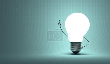 Light bulb character, aha moment, squared blue background