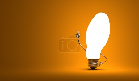 Ellipsoidal light bulb character in aha moment