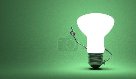Light bulb character in aha moment