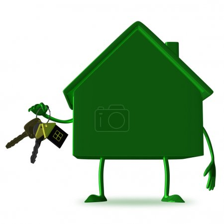 Green cottage with bunch of keys
