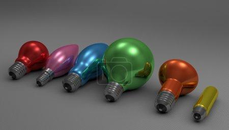 Photo pour Différentes ampoules multicolores brillantes couchées sur fond carré gris, vue en perspective - image libre de droit