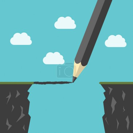Illustration for Pencil drawing a bridge above abyss between cliffs. Conquering adversity, business success, bridging the gap concept. EPS 8 vector illustration, no transparency - Royalty Free Image