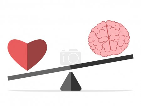 Illustration for Heart and brain on scales isolated on white. Balance, love, mind, intelligence, logic, intelligent, emotion and choice concept. EPS 8 vector illustration, no transparency - Royalty Free Image