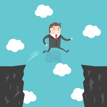 Illustration for Confident courageous businessman jumping over abyss between cliffs. Risk, challenge and ambition concept. Flat design. EPS 8 vector illustration, no transparency - Royalty Free Image