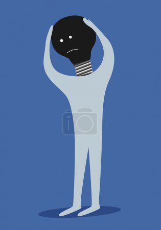 Man with dark light bulb instead of head