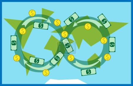 Illustration pour L'argent circule partout dans le monde. Commerce, macroéconomie, mondialisation, banque, industrie, système financier mondial. Illustration vectorielle EPS 10, transparence utilisée - image libre de droit