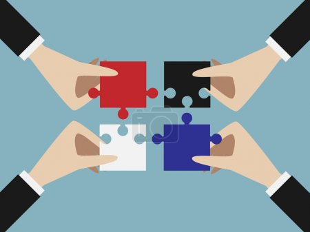 Illustration for Four hands putting multicolor jigsaw puzzle pieces together. Teamwork, solution, unity, partnership concept. EPS 10 vector illustration, no transparency - Royalty Free Image