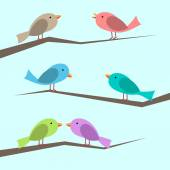 Cute multicolor vector birds perched on branches set Perched singing and couple looking at each other Flat style EPS 10 vector illustration no transparency