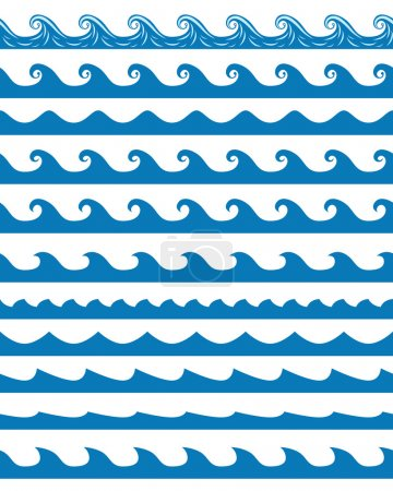 Illustration for Set of 13 blue seamless waves patterns isolated on white. EPS 10 vector illustration, no transparency - Royalty Free Image