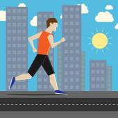 Man running along sidewalk in city with sky sun houses and skyscrapers in background Flat style EPS 8 vector illustration no transparency