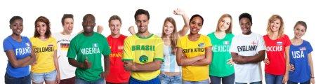 Photo pour Amateurs de sport de 12 nations sur un fond blanc isolé pour découper - image libre de droit