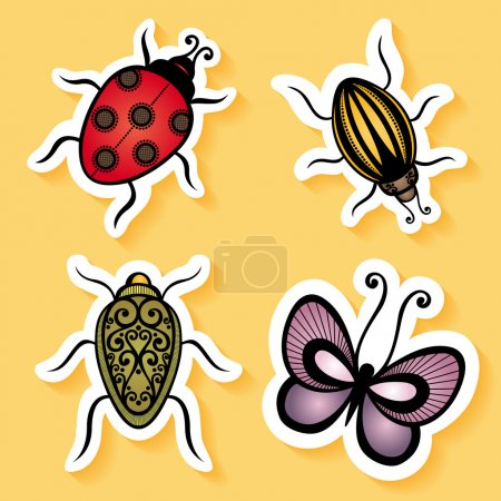 Vector Set of Stickers with Ornamental Insects