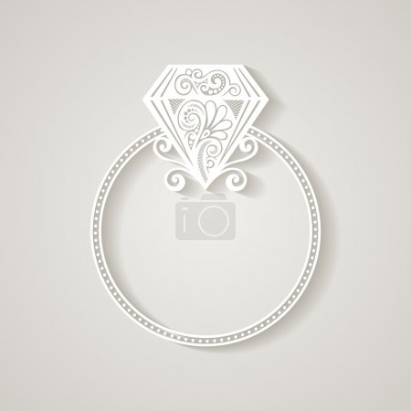 Vector Wedding Ring with Diamond