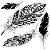 Vector Monochrome Ornate Peerless Decorative Feather