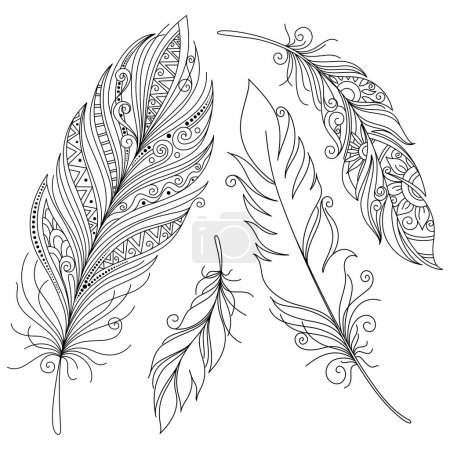 Monochrome Ornate Decorative Feather