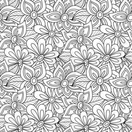 Seamless monochrome foral pattern