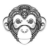 Vector Ornate Monkey Head Patterned Tribal Monochrome Design Symbol of the Year 2017 by Chinese Horoscope