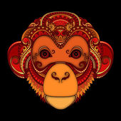 Vector Ornate Red Monkey Head Patterned Tribal Colored Design Symbol of the Year 2016 by Chinese Horoscope