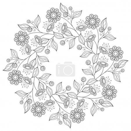 Abstract Monochrome Floral Background