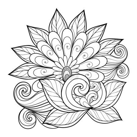 Beautiful Monochrome Contour Flower