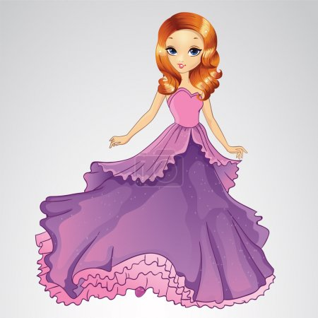 Illustration for Vector illustration of fashion princess girl in purple grand dress - Royalty Free Image