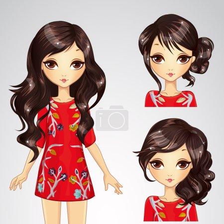 Illustration pour Illustration vectorielle de belle fille brune à la mode avec différentes coiffures dans une robe rouge - image libre de droit