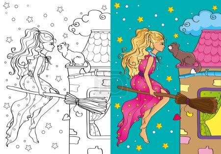 Illustration pour Illustration vectorielle de jolie sorcière volant sur un manche à balai pour colorier les enfants - image libre de droit