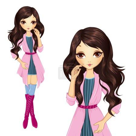 Illustration pour Illustration vectorielle de belle fille brune en manteau rose - image libre de droit