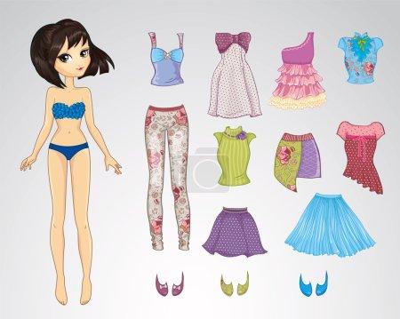 Illustration pour Illustration vectorielle de poupée de style brune en papier et ensemble de vêtements décontractés - image libre de droit