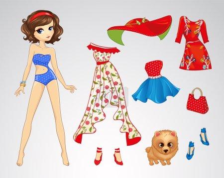 Illustration pour Illustration vectorielle de poupée brune en papier et ensemble de vêtements rétro - image libre de droit