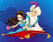 Aladdin On Flying Carpet At Night