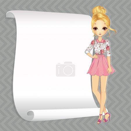 Blonde Romantic Girl With Banner