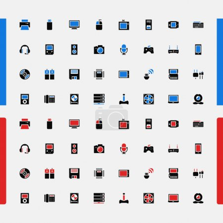 Illustration for Vector illustration of Set of small icons - Royalty Free Image