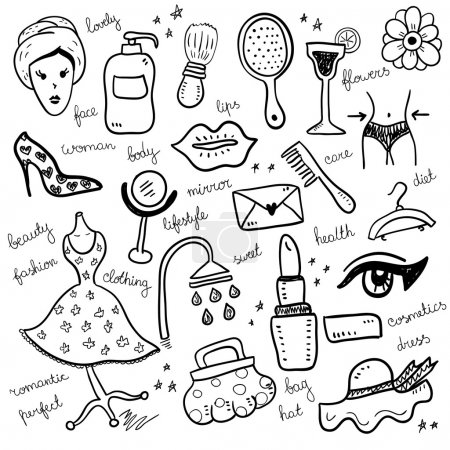 Illustration for Set of woman beauty objects,vector illustration - Royalty Free Image