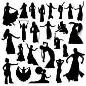 Black dancers silhouettes